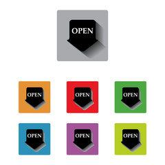 vector open arrow tag sign icon