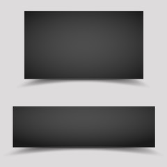 Vector blank black paper banners temolate