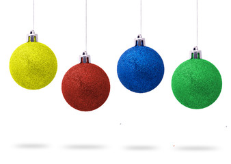 Christmas multicolor balls with bows