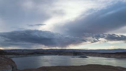 Lake Powell at Sunset Utah Landscape Time-lapse 4k UHD