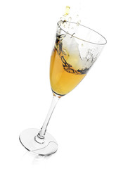 Champagne glass with splash