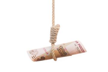 ruble hangman symbolising falling Russian economy