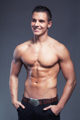 Portrait of a young muscular fitness and handsome man