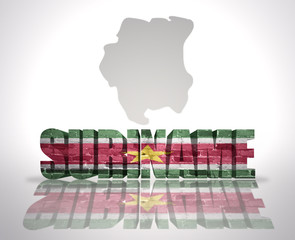 Word Suriname on a map background