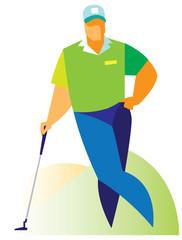 resting golfer