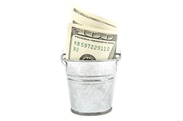 dollars in the bucket