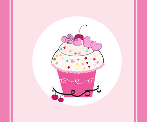 Pink cup cake greeting card vector background