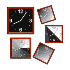 Square clock. Isolated