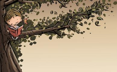 niña leyendo en un árbol