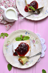 Cottage cheese casserole with dried fruits.