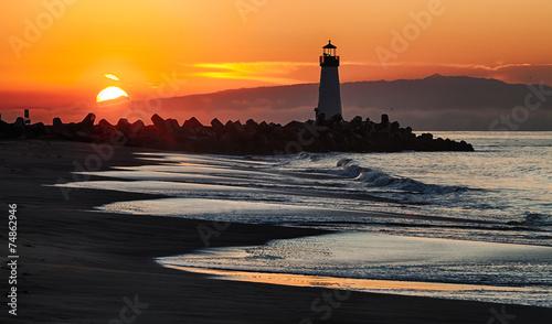Foto op Canvas Vuurtoren / Mill Santa Cruz Walton Lighthouse in the morning