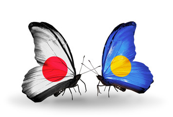 Two butterflies with flags Japan and Palau