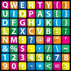 Alphabet flat icon set