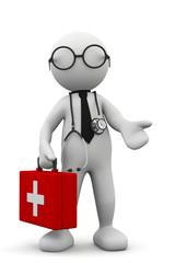 omino bianco dottore con valigetta rossa