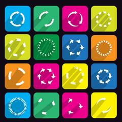 Circular arrow flat icon set