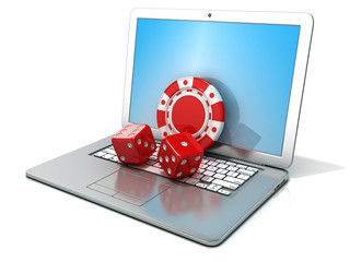 Laptop with red dice and chip. 3D rendering