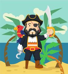 Pirate vector flat illustration