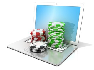 Laptop with red, green and black chips. 3D rendering - gambling