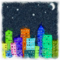drawing paint on paper the abstract night city