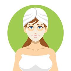 Girl spa. Vector flat illustration