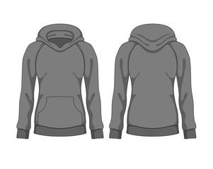 Woman hoodie. Vector template