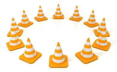 Traffic cones 3D, arranged in circular form