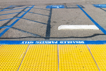 Disabled parking,tactile paving pedestrian path,upside down view