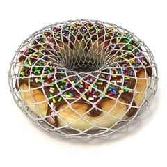 Chocolate donut with sprinkles in wire fence, as symbol of diet.