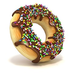 Chocolate donut with sprinkles. Isolated on a white background