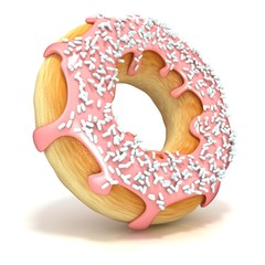 Pink donut isolated on white background