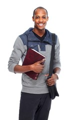African-American student man with book