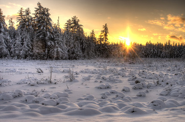 Sunset Over Snowy Fielf