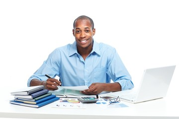 African-American businessman in office.