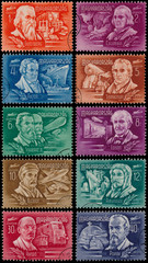 Stamps printed by Hungary shows Inventors and Explorers