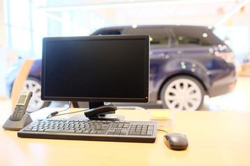 computer on the desktop in showroom