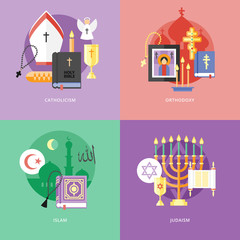 Flat design concepts for catholiism, orthodoxy, islam, judaism.