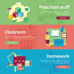 Flat design concepts for preschool, classroom and homework.