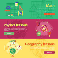Set of flat design concepts for math, physics, geography.