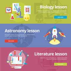 Flat design concepts for biology, astronomy, literature lessons.