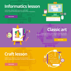 Flat design concepts informatics, classic art, craft lessons.