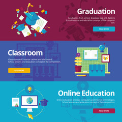 Flat design concepts for graduation, classroom, education.