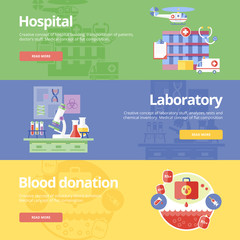 Flat design concepts hospital, laboratory and blood donation.