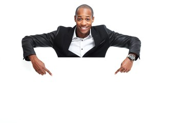 African-American black man with poster