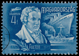Stamp printed by Hungary, shows Fulton