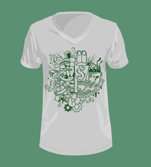 Doodle style with Workaholics concept on T-shirt.