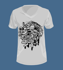 Doodle style and Graphics on T-shirt.