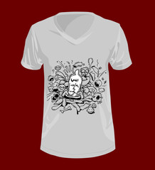 Abstract Condom doodle style on T-Shirt.