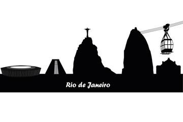 rio de janeiro city skyline silhouette. vector illustration