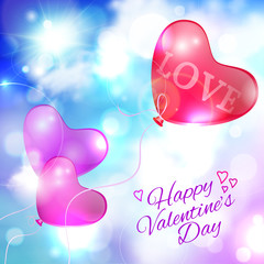 Valentine background with blue sky, the sun and the balloons