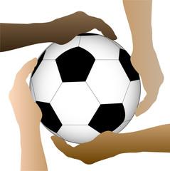 Soccer Ball Hands Illustration